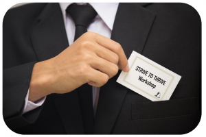 man with business card putting it in pocket with words