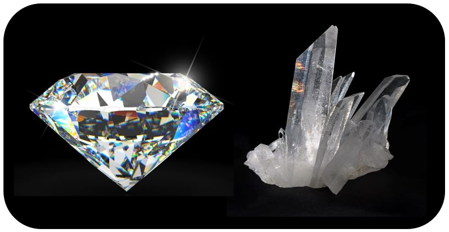 very shiny diamond huge stone on the left hand side, and a dull semi-shiny quartz in the right hand side