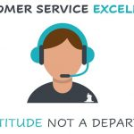 customer services excellence is an attitude not a department quote with a clipart image of a leady with a headset