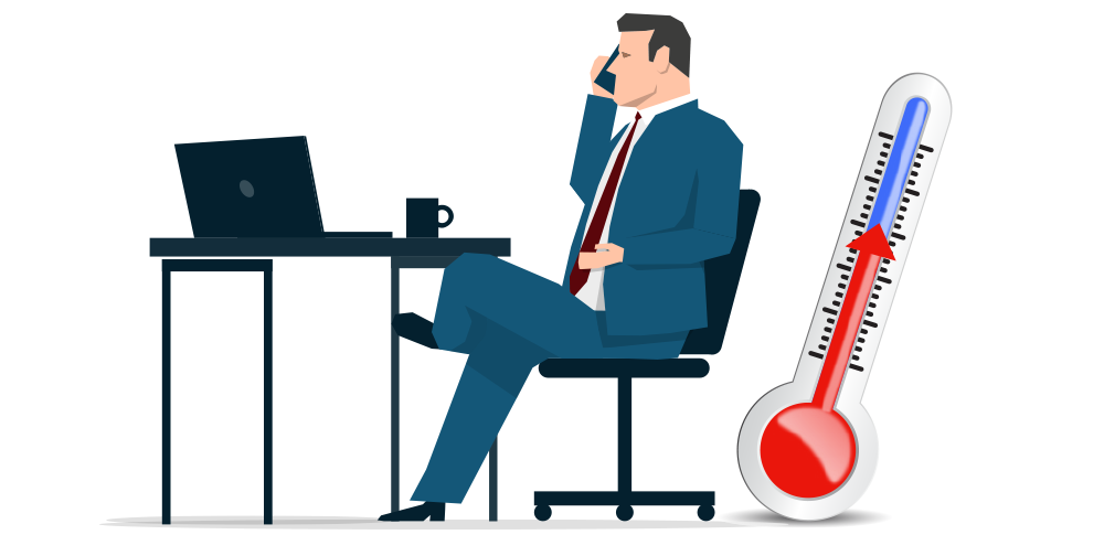 clipart image of man at a desk, legs crossed, on a mobile call with a cup on desk, in the side background is a thermometre with the gauge slowly warming up, red from blue for blog on warming up cold calling techniques