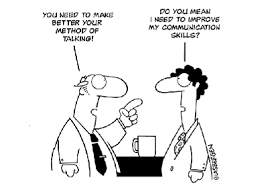 comic black and white about communication skills in leadership mistakes