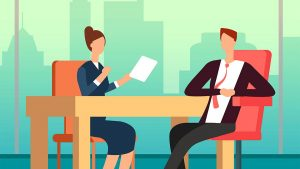 clipart faceless people at desk, business lady with piece of paper and across table man in tie with elbow on desk casual behaviour for professional development training