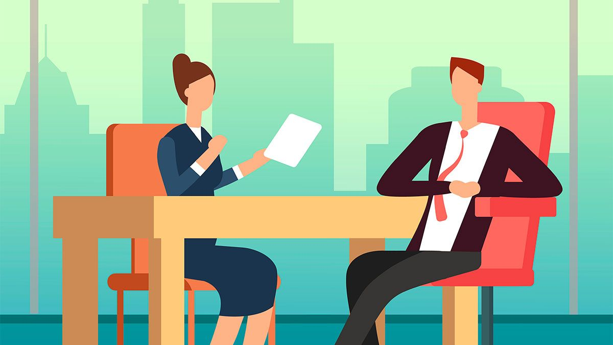 clipart faceless people at desk, business lady with piece of paper and across table man in tie with elbow on desk casual behaviour