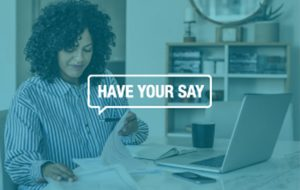 have your say at work quote with lady looking through files in the background for professional development training