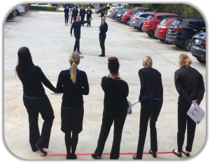 human spectogram in a car park with people standing on different coloured ropes for dynamic conference activities