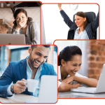 VIRTUAL TEAM BUILDING FOUR PEOPLE ON ONLINE VIDEOS LAUGHING