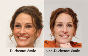 2 images of julia roberts, one with a Duchenne Smile and one with a non-Duchenne Smile