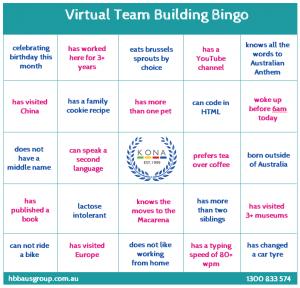Virtual Team Building Bingo Board for the KONA Group
